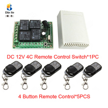 433MHz Universal Wireless Remote Control Switch DC 12V 4CH Relay Receiver Module RF 4 Button Remote Control Garage door Opener universal 315mhz rf relay receiver module learning code ev1527 315 mhz diy wireless remote control switch for garage door 5pcs