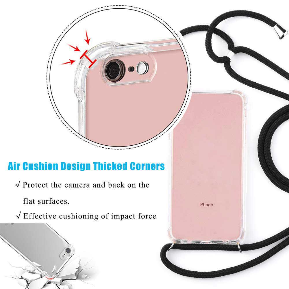 Прозрачный мягкий ТПУ сотовый Чехол для телефона с шнурком ожерелье плечевой шейный ремень веревочный Шнур для iphone 6 7 8 plus x xs xr xs max