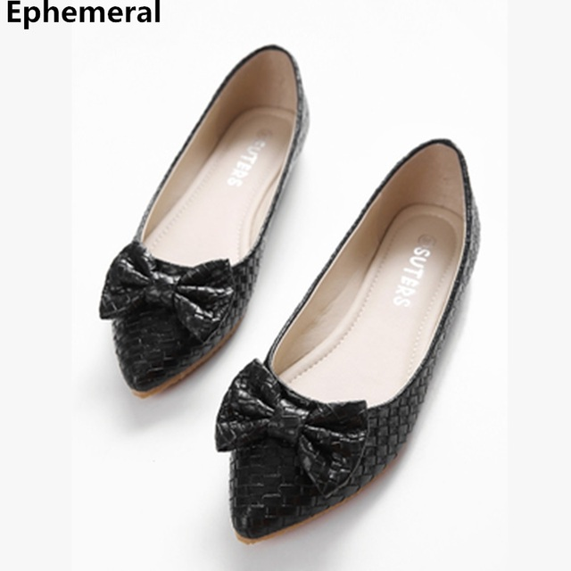05811d0830b Ladies Mocasines Mujer Bow Flats Black White Pointed Toe Comfortable  Slip-ons Spring Plus Size 46 34 44 Brand Shoes For Women