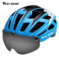 서쪽 자전거 사이클링 헬멧 초경량 일체 성형 자전거 헬멧 선글라스 자전거 헬멧 자전거 안경 렌즈 사이클링 헬멧