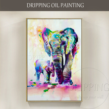 Free Shipping Hand-painted Rich Colors Abstract Elephants Oil Painting on Canvas Colorful Mother and Baby