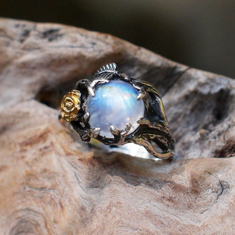 Vintage Moonstone Ring For Women Black Jewelry Gold Flower Finger Ring Female Charming Jewelry Gift Wedding Statement Ring