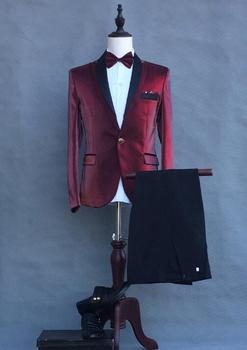 Singer star style dance stage clothing for men groom suit set with pants 2020 mens suits costume wine red formal dress tie