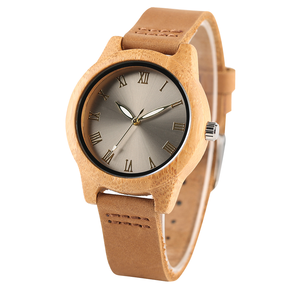 Unique Roman Numerals Smooth Design Women Wrist Watch Bamboo Wooden Quartz Thin Genuine Leather Band Lady Watch Female Gift yisuya bamboo wooden watch men unique design genuine leather band modern quartz creative watches women business wood clock gift