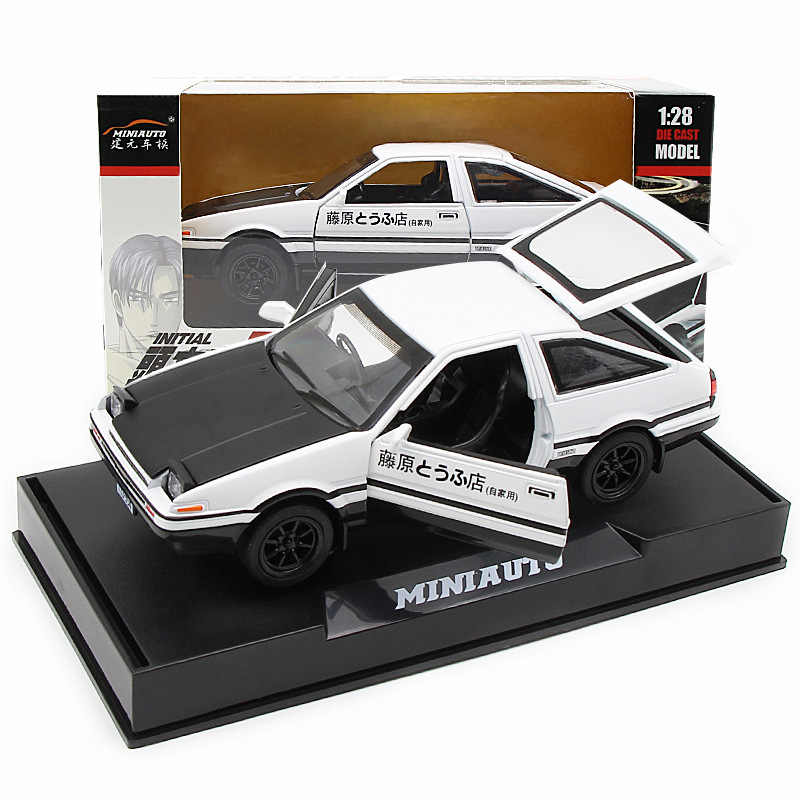 New 1:28 Alloy Car Model INITIAL D AE86 Anime Cartoon Fast Furious With Pull Back Sound Light For Boy Toys Car Christmas Gift
