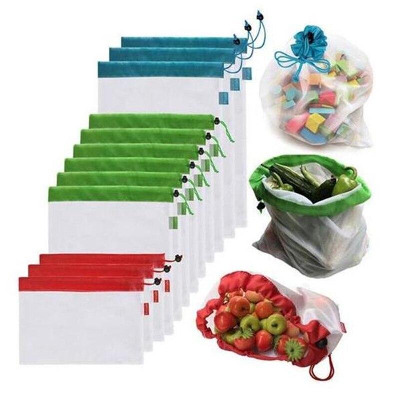 12 piezas reutilizables productos de malla de bolsas lavable Eco amigable bolsas de compras para ir de compras de almacenamiento vegetal de la fruta Juguetes