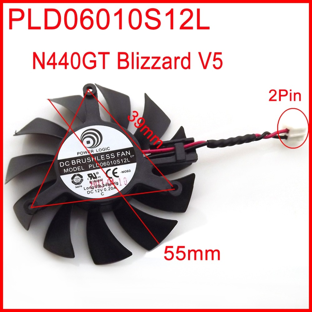 Free Shipping PLD06010S12L 12V 0.20A 2Wire 55mm 39mmx39mmx39mm For MSI N440GT Blizzard V5 Graphics Card Cooling Fan