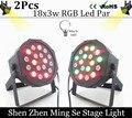 LED Par light 2pcs /lots 18x3W 54W High Power RGB Par Light With DMX512 Master Slave Led Flat DJ Equipments Controller