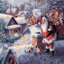 Santa Claus Giving Oil Painting By Numbers DIY Digital Picture Coloring On Canvas Unique Gift Home Decoration 2017