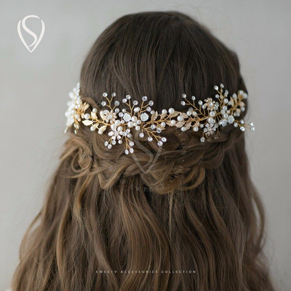 Bohemian Pearl Rhinestone Hair Band Tiara Gold Flower Leaf