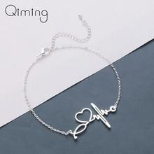 Stainless Steel Heartbeat Cardiogram Bracelets Stethoscope Women Bracelet Special Gifts for Nurse Jewelry for Doctor татуировка переводная heartbeat