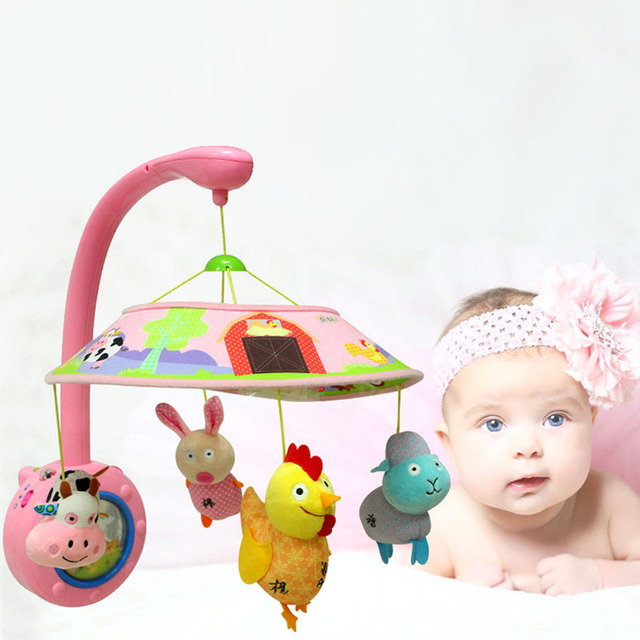 Safe Baby Toddler Mobile Crib Bed Toy with four Dolls Cute Soft Animal  Handbells Infant Bell 3a2550bc1b89