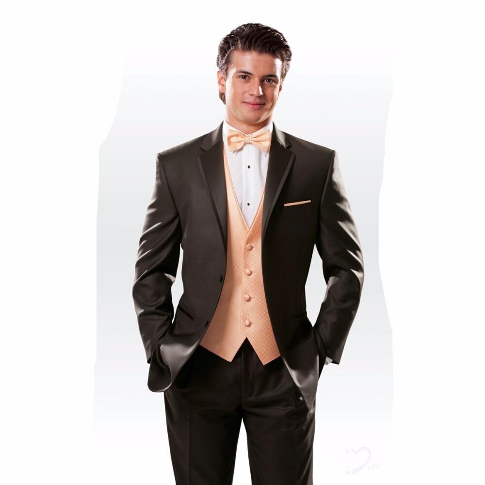 2017 Latest Coat Pant Designs Brown Men Suit Jacket Slim Fit 3 Piece Tuxedo Prom Suits Mens Custom Groom Blazer Terno Masculino