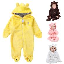 3656e2db4 Autumn Winter Baby Rompers Bear Newborn Baby Coral Fleece Brand Hoodies  Jumpsuit Baby Girls Boys Romper