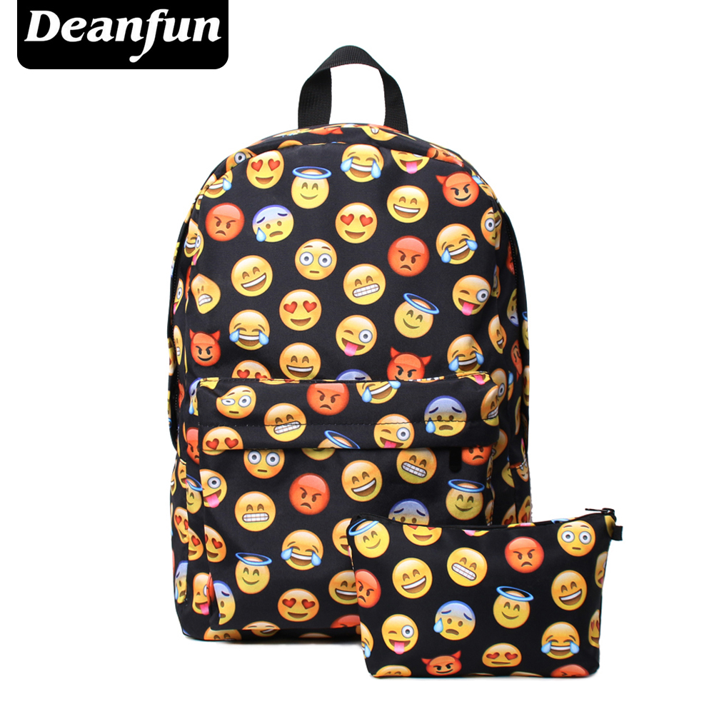 Deanfun 2PCS Printing Emoji Backpack Fashion Youth Schoolbags for Teenager Girls Boys TZ1