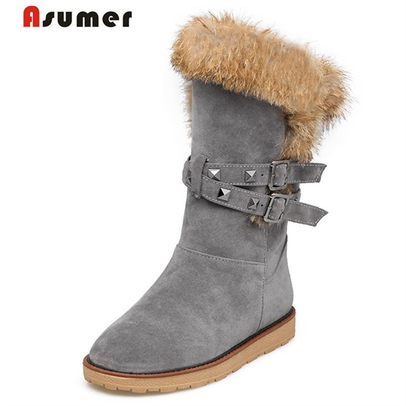 ФОТО ASUMER size 34-43 2017 NEW Arrive high quality fur snow boots rivets flat platform fur winter women boots rivets with buckle