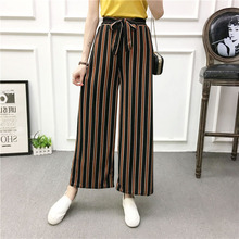 2019 New Hot Selling Korean Version of Striped Loose Wide Leg Pants High Waist Bow Drawstring Striped Wide Leg Pants Casual