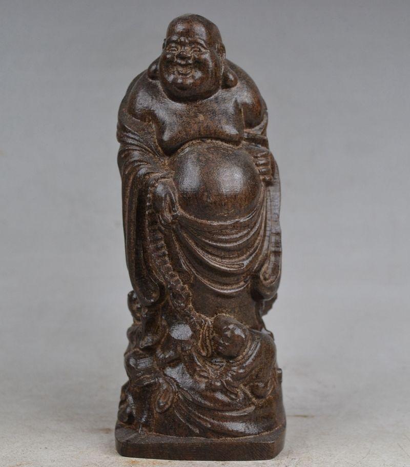 Artisanat statue objets de collection vieux travail manuel sculpture bouddha bois Statue halloween