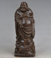 Crafts statue Collectibles Old Handwork Carving Buddha Wood Statue halloween