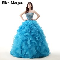 Cheap Quinceanera Dresses 2018 Real Pictures Sweet 15 16 Sexy Sweetheart Lace up Floor Length Organza Puffy Princess Prom Gowns
