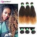 8A Grado 3 Unids Lote Tres Tono Color Afro Rizado Rizado Ombre pelo Brasileño Rizado Rizado Pelo de la Virgen Teje T4/Blonde de Miel Natural