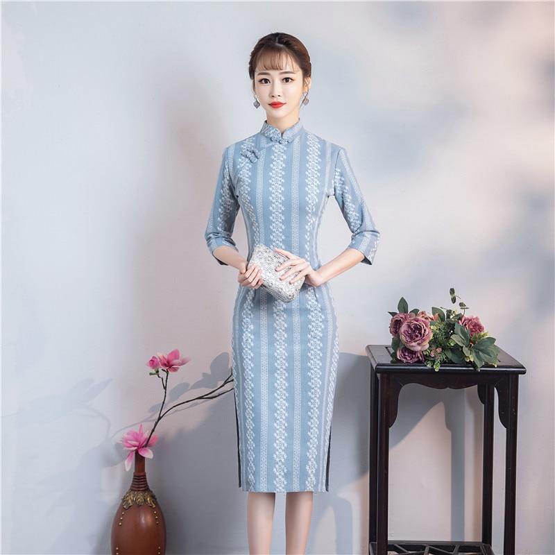 The Best 2019 With Lattice Cotton And Hemp, Daily Improvement Of Chinese Style Printed Cheongsam, Dress, Tea Art Dress And Cheongsam