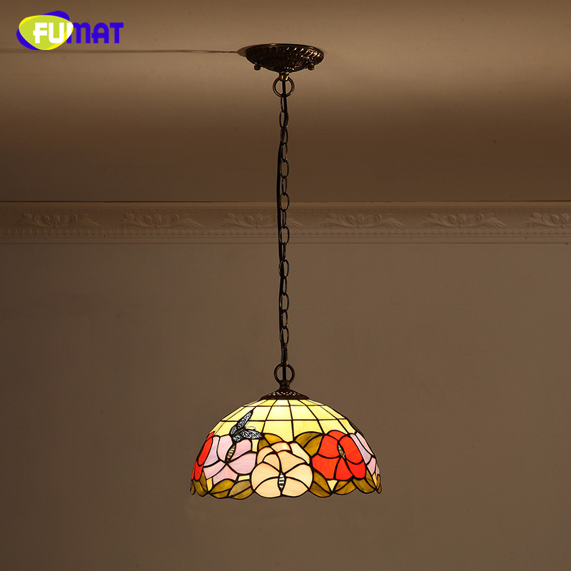 FUMAT Flower & Butterfly Lamp European Vintage Stained glass Kitchen Pendant Lights Warm Bar Living Room LED SHADE Pendant Lamps fumat stained glass pendant lamp art butterfly glass shade lamps living room bed room multi color indoor lamp led pendant lights