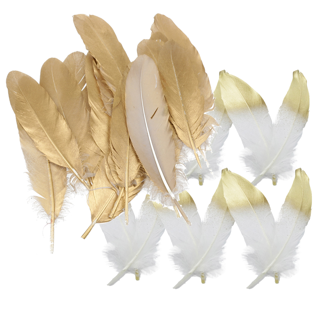 fityle 24pcs Natural Goose Feather for DIY Crafts Hat Making Paty Decoration 15-20cm White and Gold