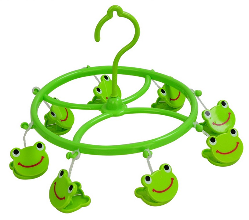 Clothes Sock Peg Rack Pin Airer Clothes Dryer Clip Cute Cartoon Clotheshorse 8 Clips [2pcs Pack Green Frog]