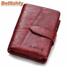 Купить с кэшбэком Bellishly 2019 Genuine Leather Women Wallets And Purses Coin Purse Female Small Portomonee Rfid Walet Lady Money bags For Girls