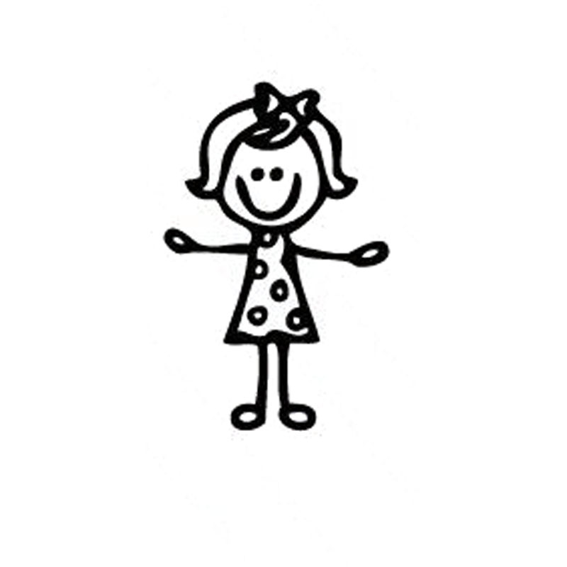 personalized custom girl stick figure family car stickers covering the