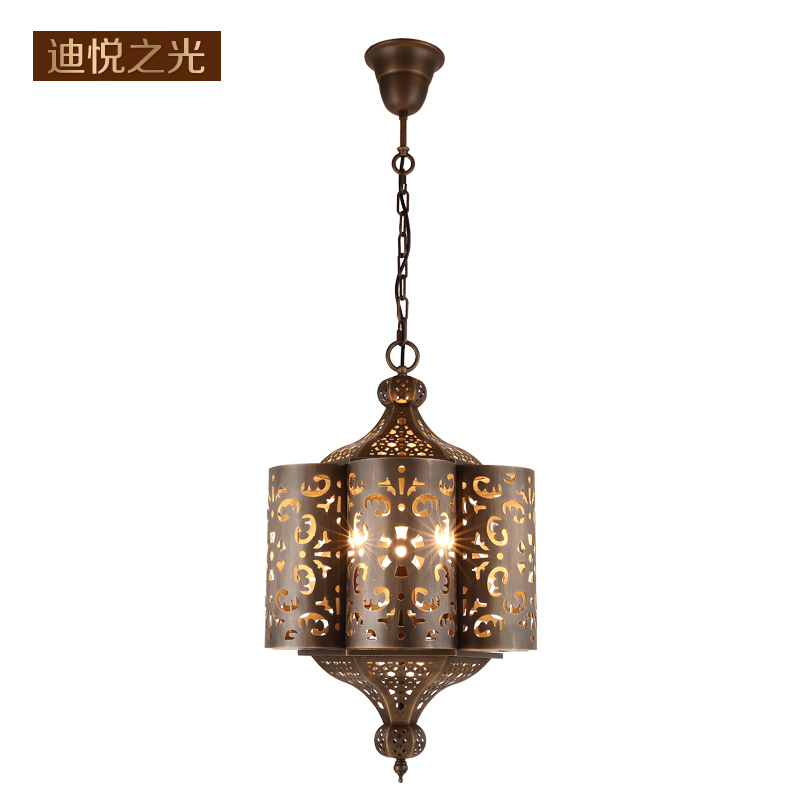 Arab style copper lamp vintage hanging lamp for living room bedroom retro chandeliers hotel dinning light fixtures led e14