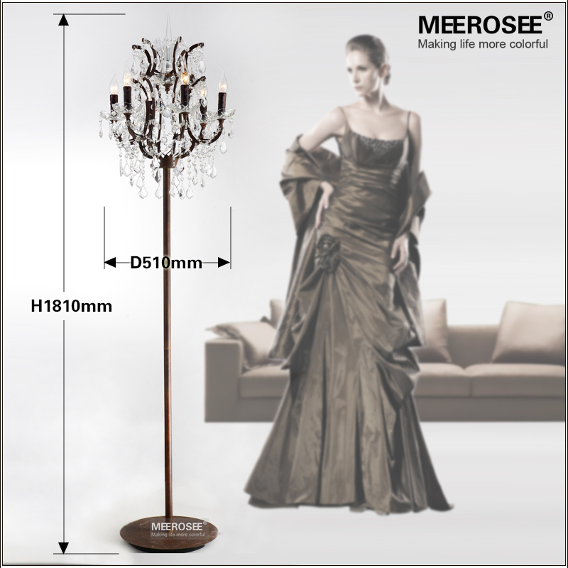 popular vintage style crystal floor lamp rust red color stand lamp with 6 lights for reading cheap floor lighting