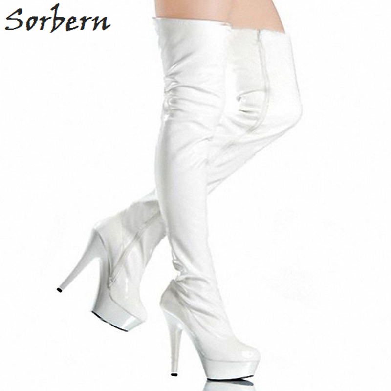 Sorbern Black Boots Winter Woman Shoe Matt Pu Sexy Fetish Shoes Over The Knee Boots Thigh High Heel Pointed Boot Platform Boots