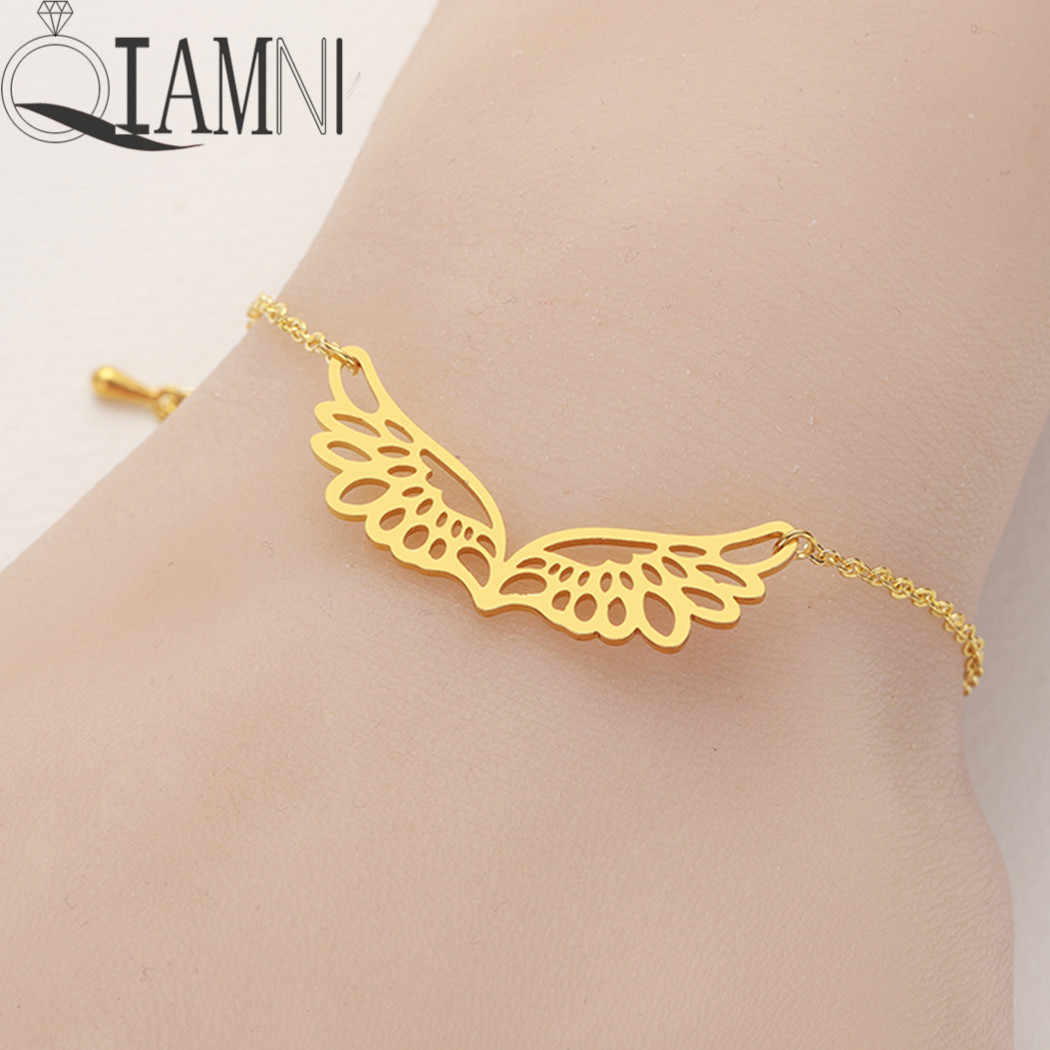 QIAMNI Handmade Angel Wing Chain Cuff Bracelet Bangle for Women Unique Double Wings Guardian Bracelet Birthday Gift Pulsera