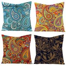 Fuwatacchi Irregular Shape Pattern Linen Cushion Cover Vintage Style Throw Pillow Green Orange Geometric Pillowcases
