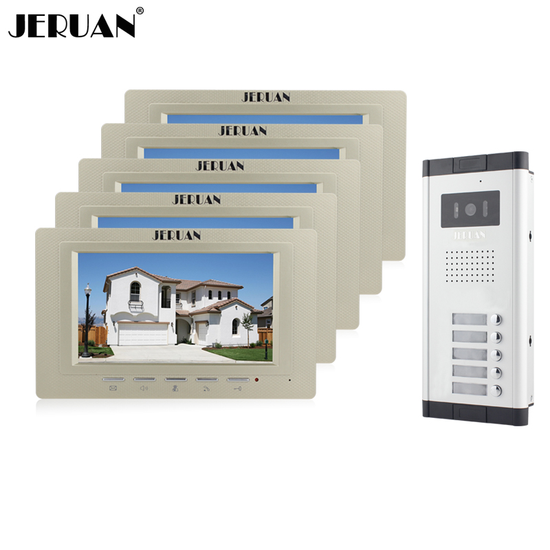 JERUAN Wholesale New Home Apartment Intercom System 5 Monitors Wired 7 Color HD Video Door Phone intercom System FREE SHIPPING brand new apartment intercom entry system 2 monitors wired 7 color video door phone intercom system for 2 house free shipping