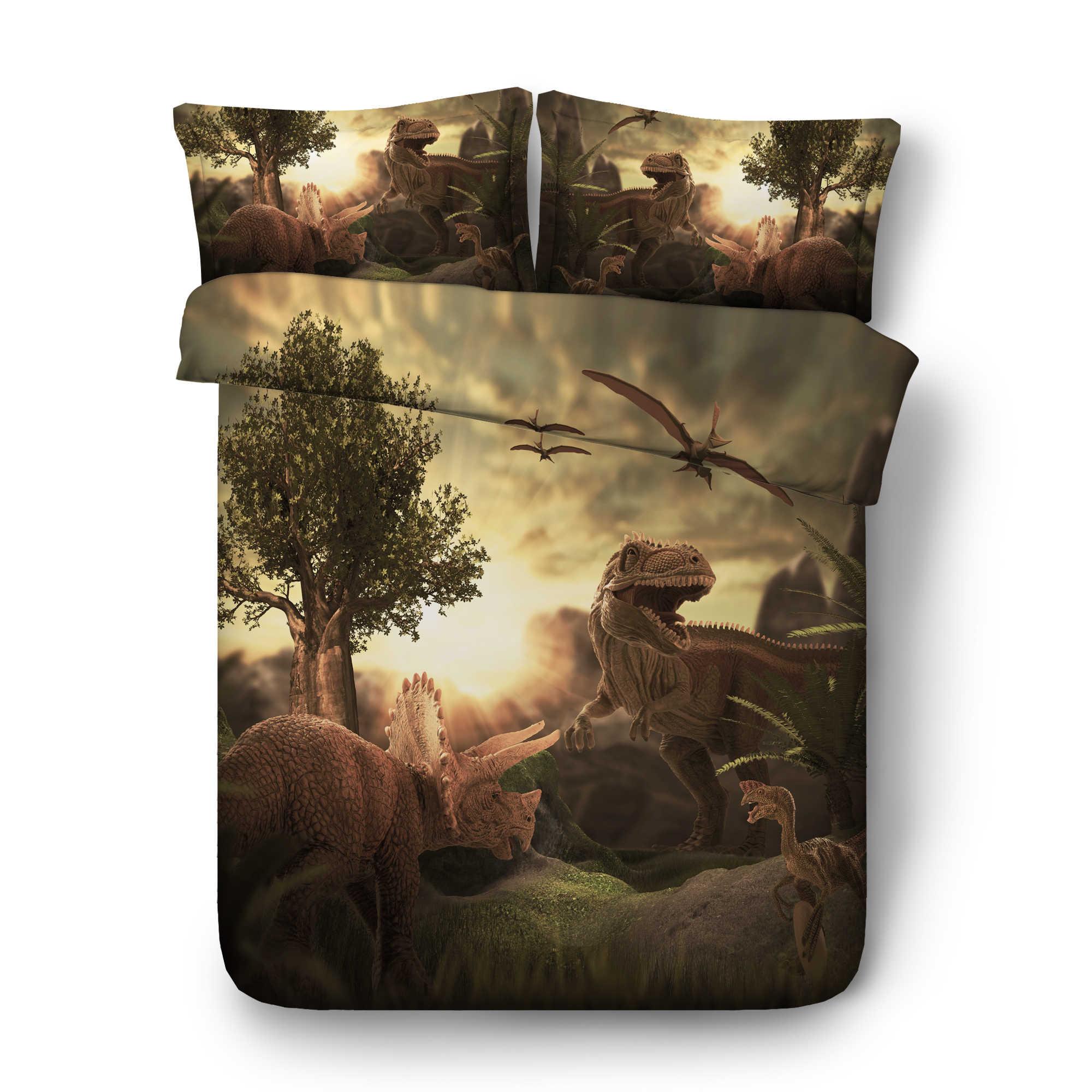 Из фильма «Парк Юрского периода»; цифровая печать набор постельных принадлежностей одеяло крышка дизайнерская кровать комплект в богемном стиле mini Van постельного белья из 3 предметов JF565