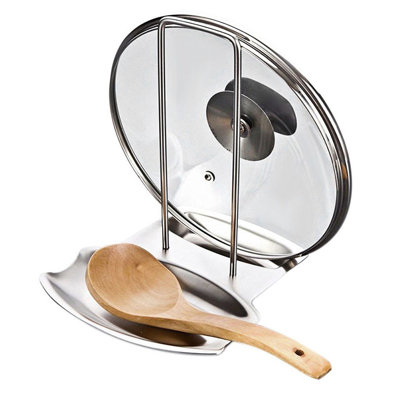 EVERSO Spoon Holder Lid Spoon Rests Pot Clips Kitchen Stand Stainless Steel Pot Lid Shelf Pan Cover Lid Rack Stand Spoon Holder ibili 418328 stock pot with lid vital 28 cm