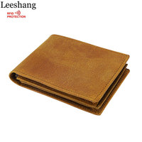 Leeshang 100 Crazy Horse Vintage Men S RFID Blocking Wallets Cowboy Genuine Leather Wallet With Zipper