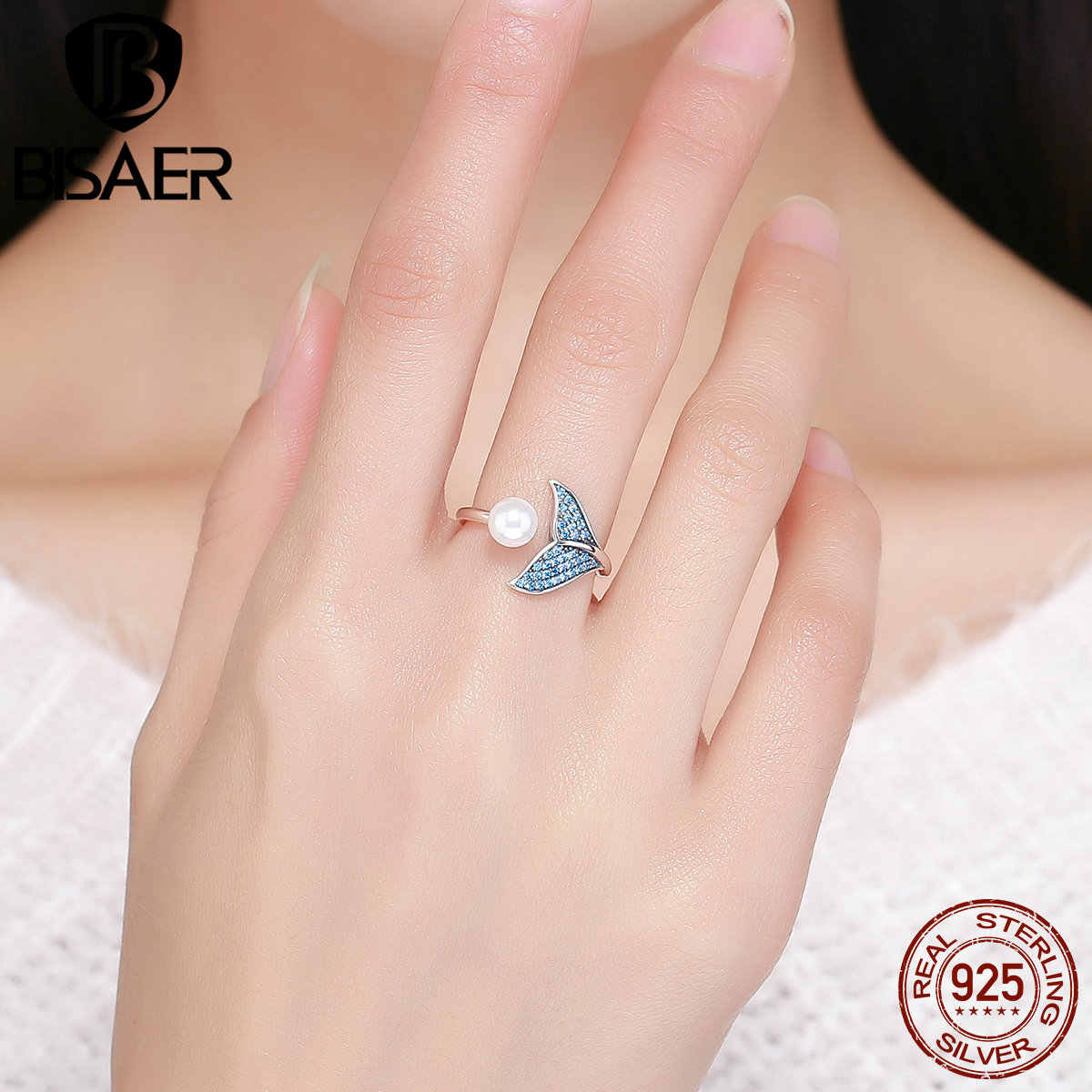 BISAER 100% 925 スターリングシルバー女性の人魚の尾調節可能指リング女性の結婚式婚約ジュエリー S925 GXR286