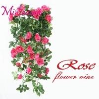 90 cm 5 tenedores Seda Falsa Hiedra Vid Flores Artificiales Rosas con Hojas Verdes Para El Hogar Decoración de La Boda Guirnalda Colgante decoración