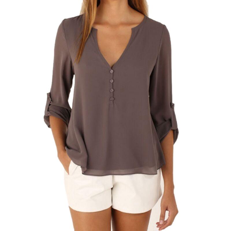 Long Sleeve Chiffon Blouse Shirt Fall Deep V Neck Buttoned Back High Low Asymmetric Loose Casual 2017 Women Top M-5XL
