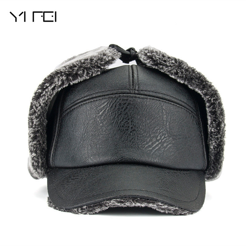 YIFEI 2018 Men Warm PU Leather Dad Hat Fur Bomber Hats Men With Earflaps Outdoor Gorras Casquette Winter Hats Snapback Cap new autumn winter warm children fur hat women parent child real raccoon hat with two tails mongolia fur hat cute round hat cap