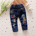 2017 Casual Jeans for Boys Unisex Elastic Waist Boys Pants Regular Character MId Waist Girls kid Children Clothing trousers p223