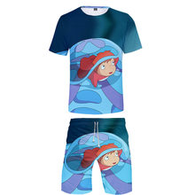 Hot Animation Ponyo On The Cliff T-shirt+Beach shorts men /women Hip Hop Summer Casual 3D print boys/girls two-piece clothing(China)