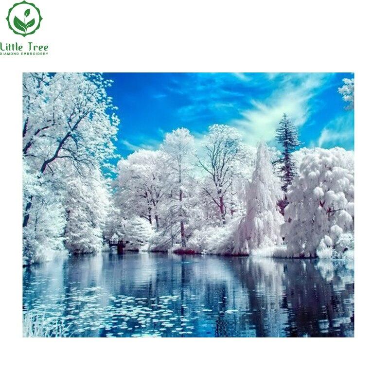 ᓂArtesanía nuevo 3d Diy diamante pintura azul cielo hielo falta ...