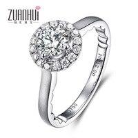 Zuanhui 18 К белого золота GIA 0.5ct кольцо с бриллиантом 4 зубец Установка Свадебный подарок на день рождения для Для женщин