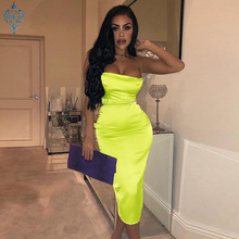 Ameision 2019 summer women long dress satin sleeveless bandage backless elegant party vestidos sexy hollow out