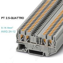 10 шт. Феникс Тип Быстрый разъем проводки PT2.5-QUATTRO din-рейку комбинированный толчок в пружинный Безвинтовой клеммный блок PT-2.5QUATTRO